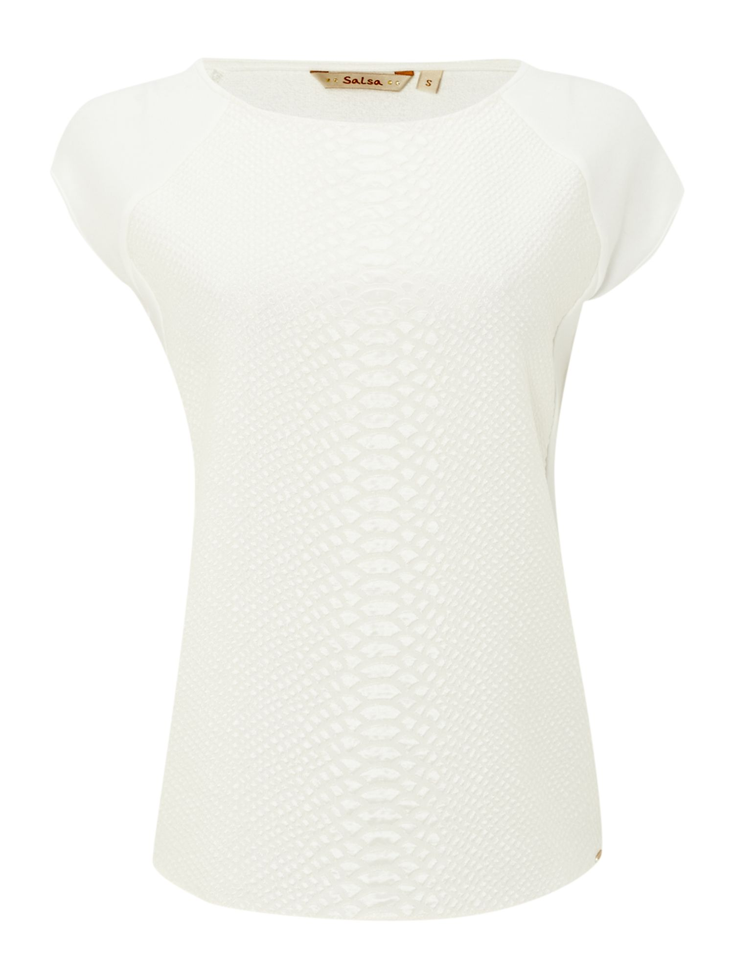 Short sleeve croc textured top