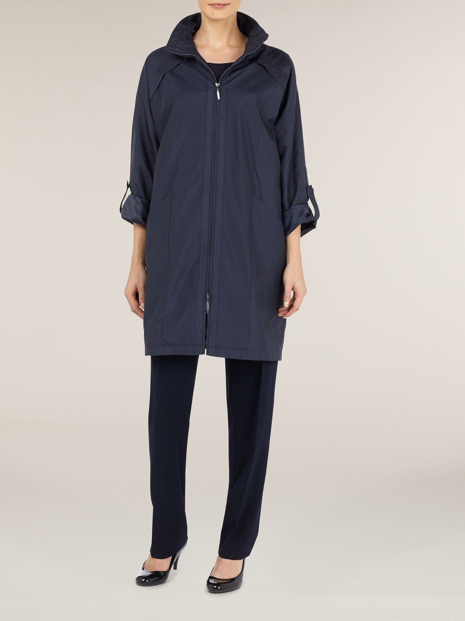 Navy raglan sleeve raincoat