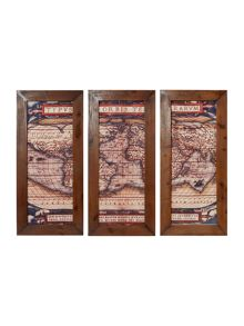 Vintage world map wall panel