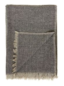 Silk herringbone throw, grey