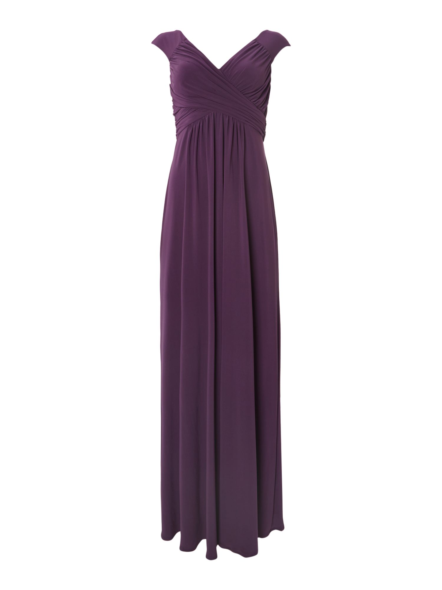 Cap sleeve pleated bodice jersey maxi