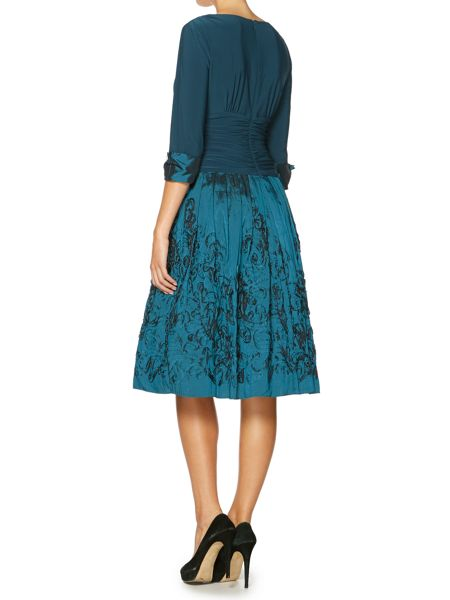 Eliza J 3/4 cuff sleeve dress with pleated skirt