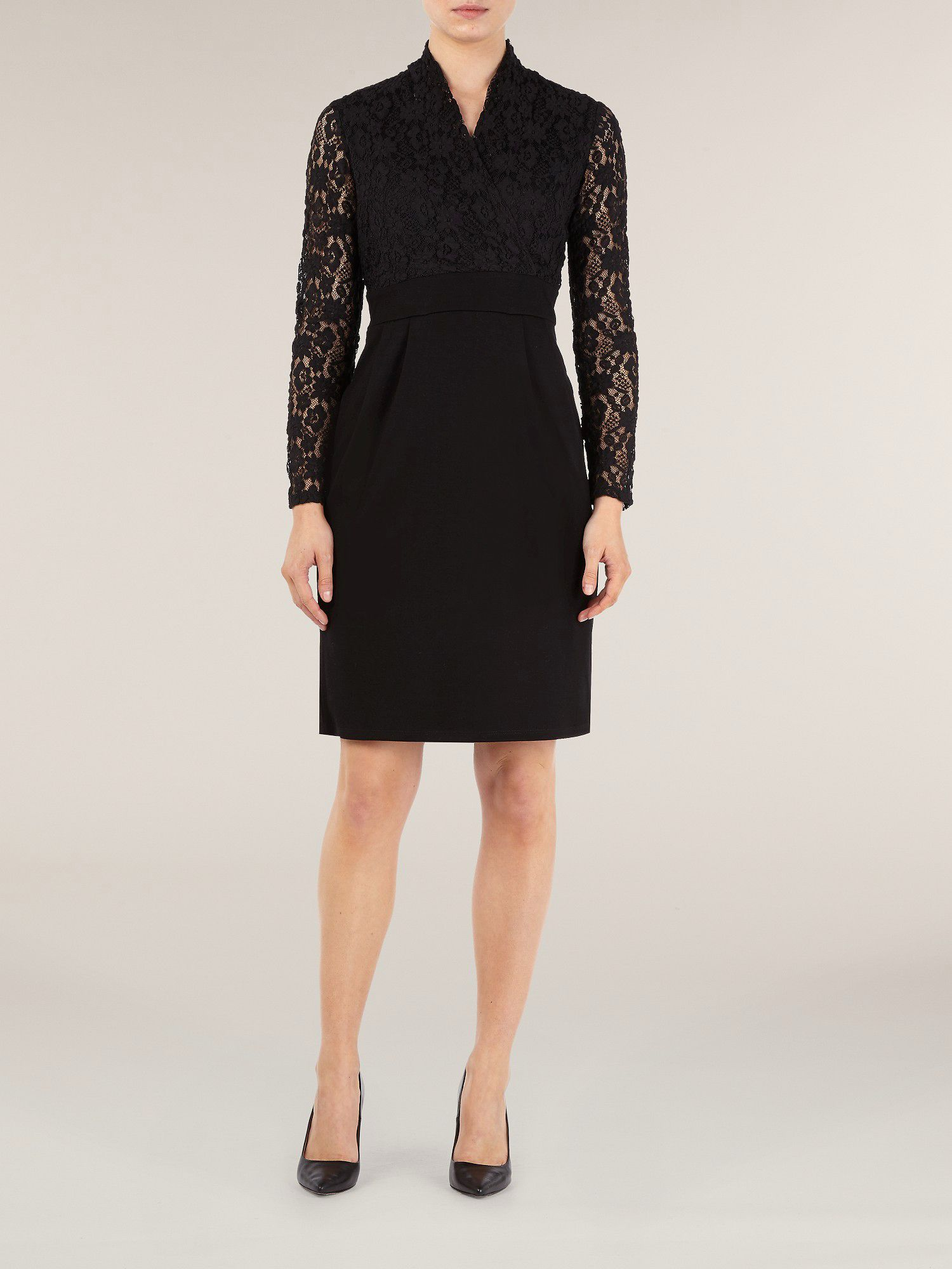 Bubble lace panel dress