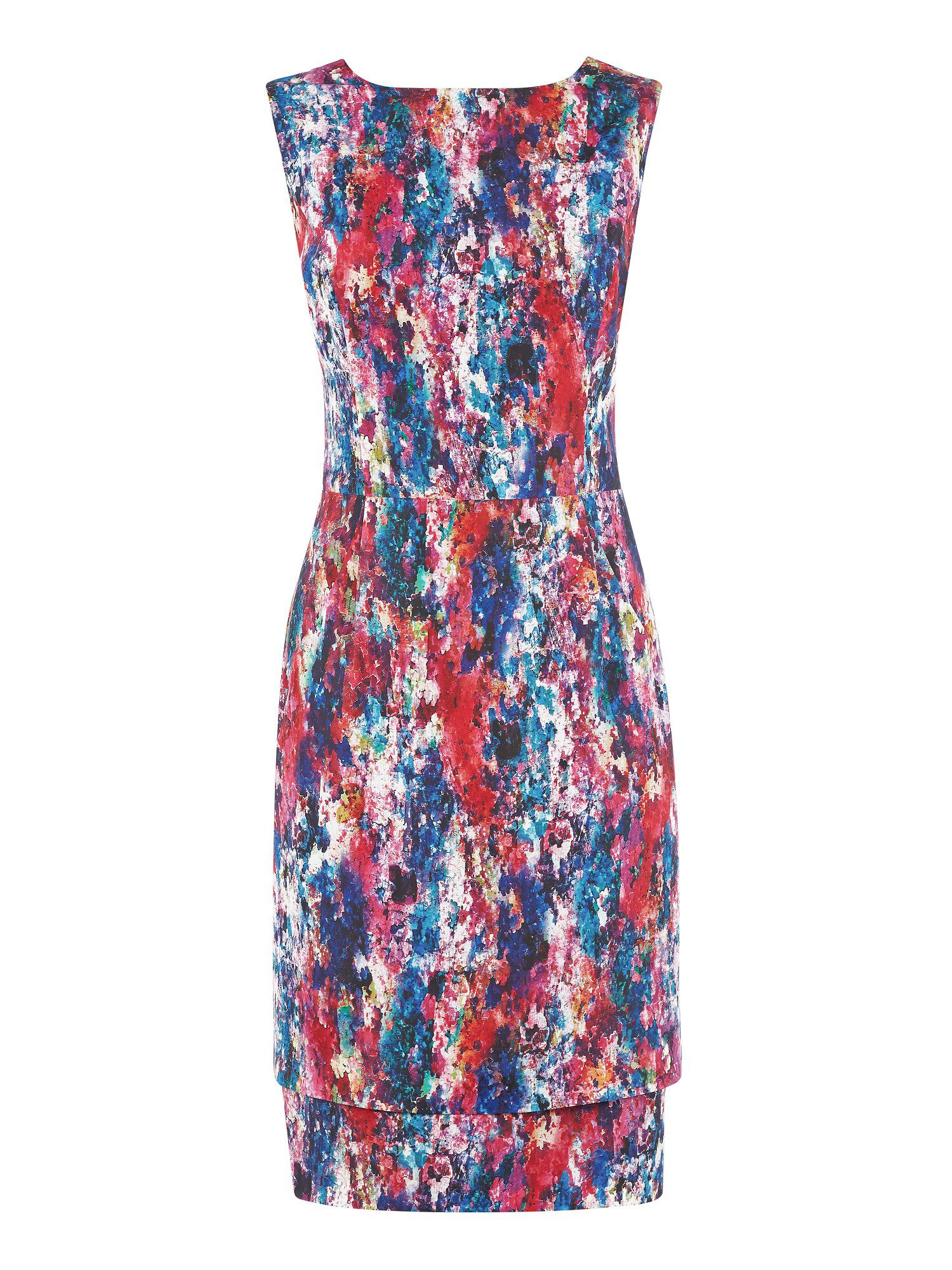 Inez print double layer dress