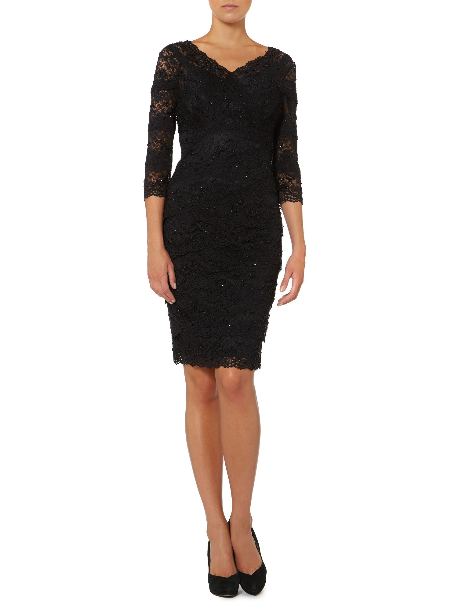Beaded scallop lace dress