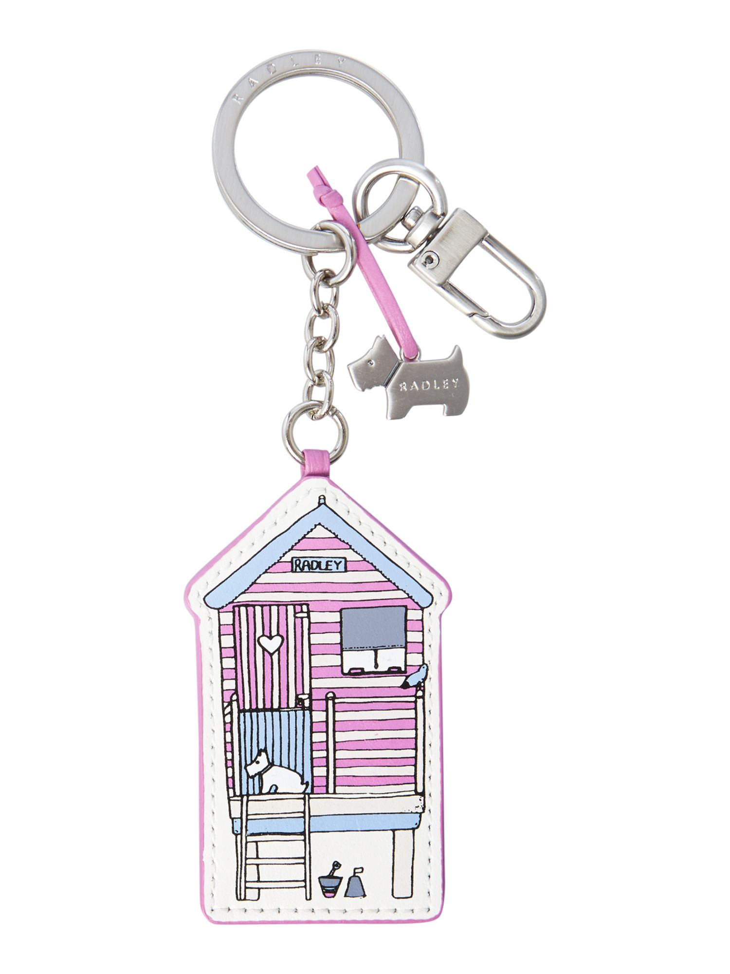 Purple beach huts keyring