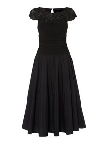 Empire dress with beaded illusion collar