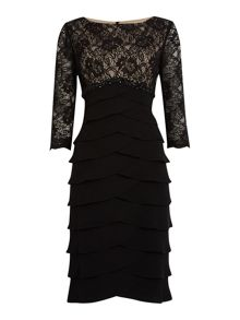 Beaded empire waist dress with 3/4 sleeves