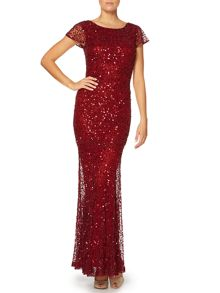 All over sequin cap sleeve fishtail maxi dress