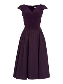Ruched waist dress with beaded cap sleeves