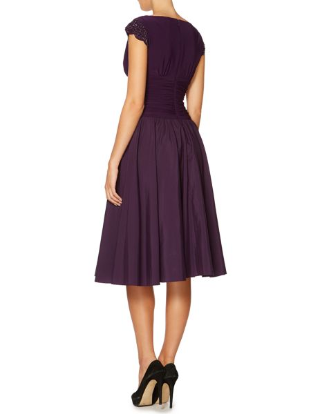 Eliza J Ruched waist dress with beaded cap sleeves