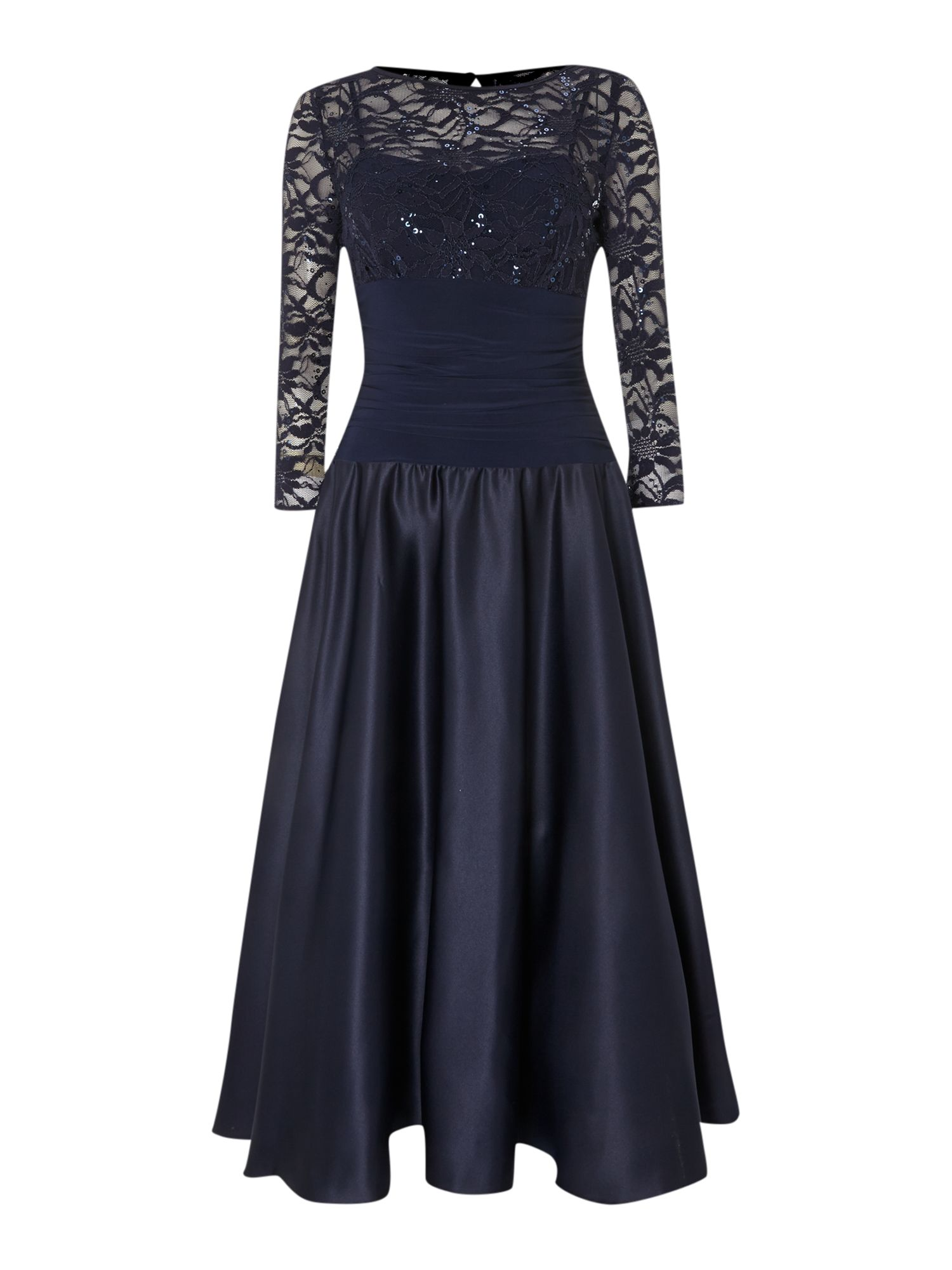 Eliza J Sweetheart flared dress with lace sleeves, Blue