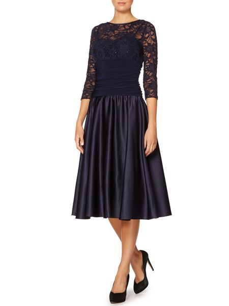 Eliza J Sweetheart flared dress with lace sleeves