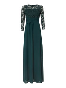 3/4 lace sleeve gown with rouched waist