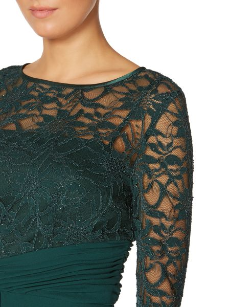 Eliza J 3/4 lace sleeve gown with rouched waist