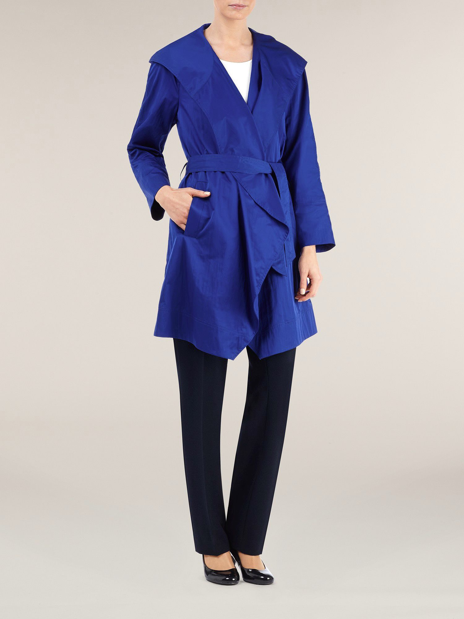 Bright cobalt hooded wrap raincoat