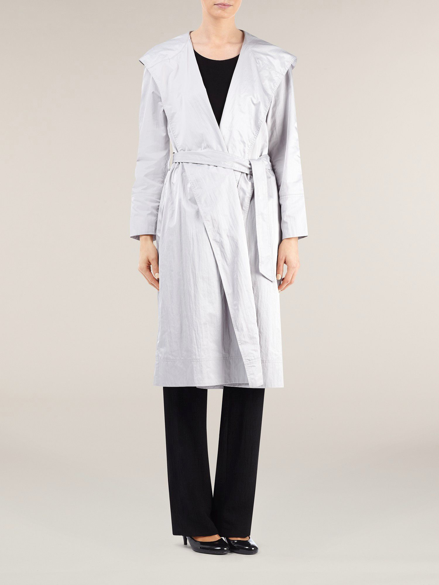 Silver hooded wrap raincoat