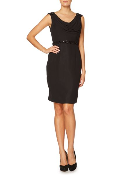 Shubette Cowl neck cocktail dress with beaded waist