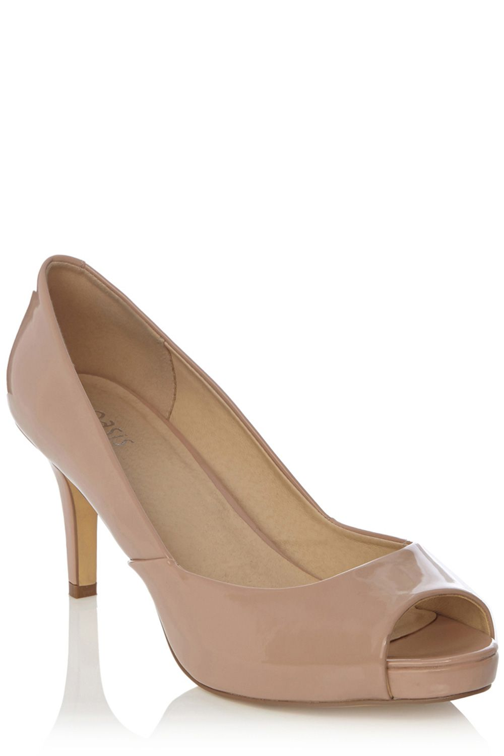 Patent peep toe court shoe