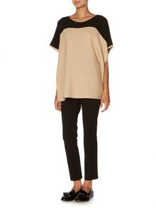 Colourblock rib detail poncho