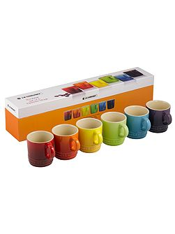 Rainbow espresso mugs set of 6