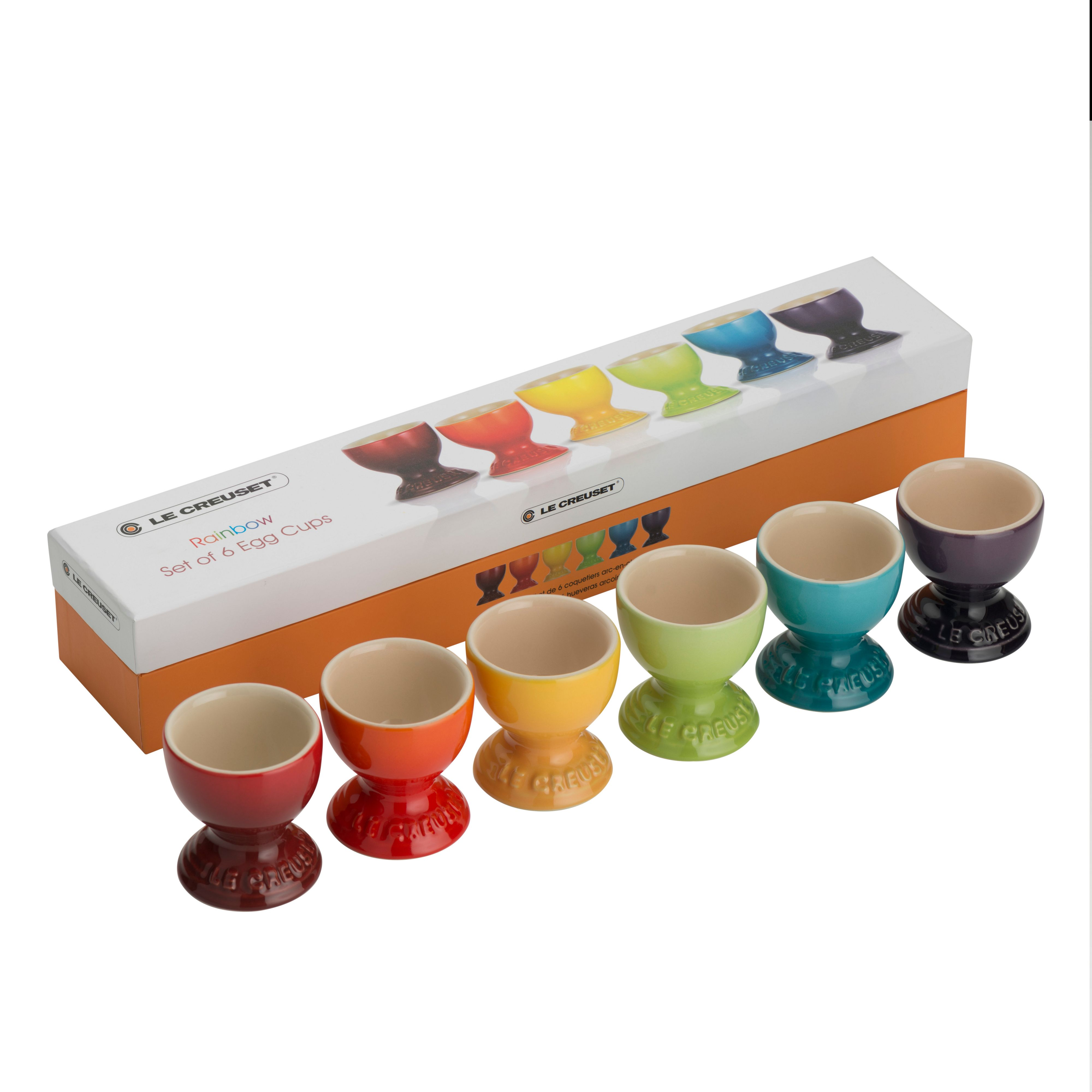 Rainbow egg cups set of 6