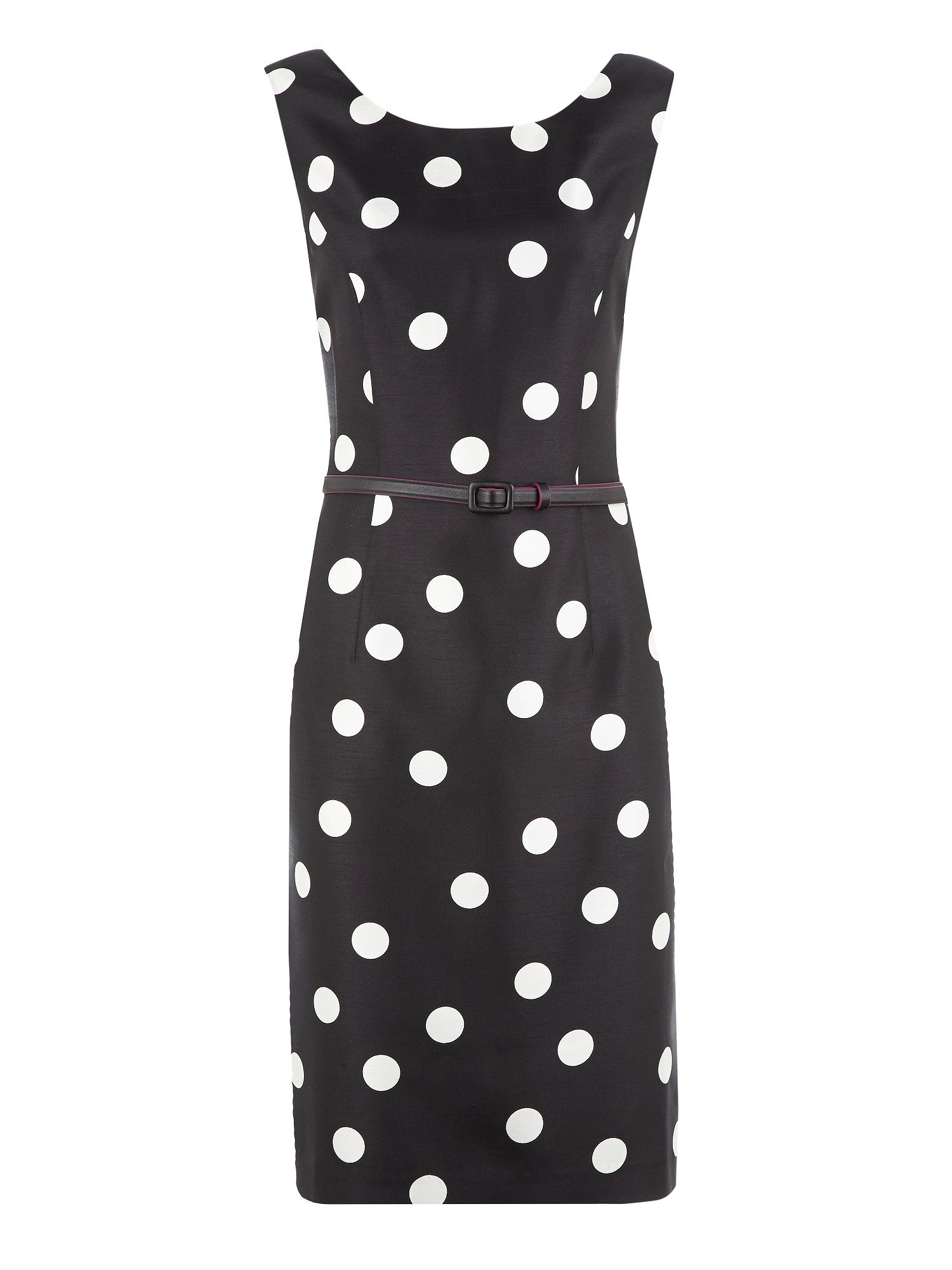Spot print belted shift dress