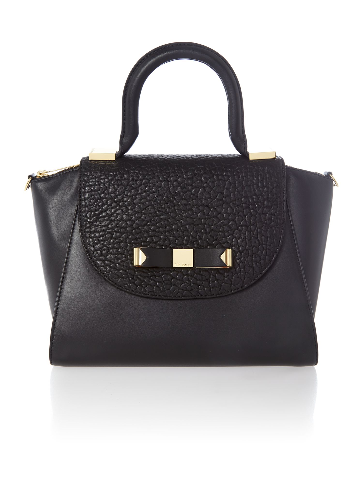 Black bow leather mini tote bag