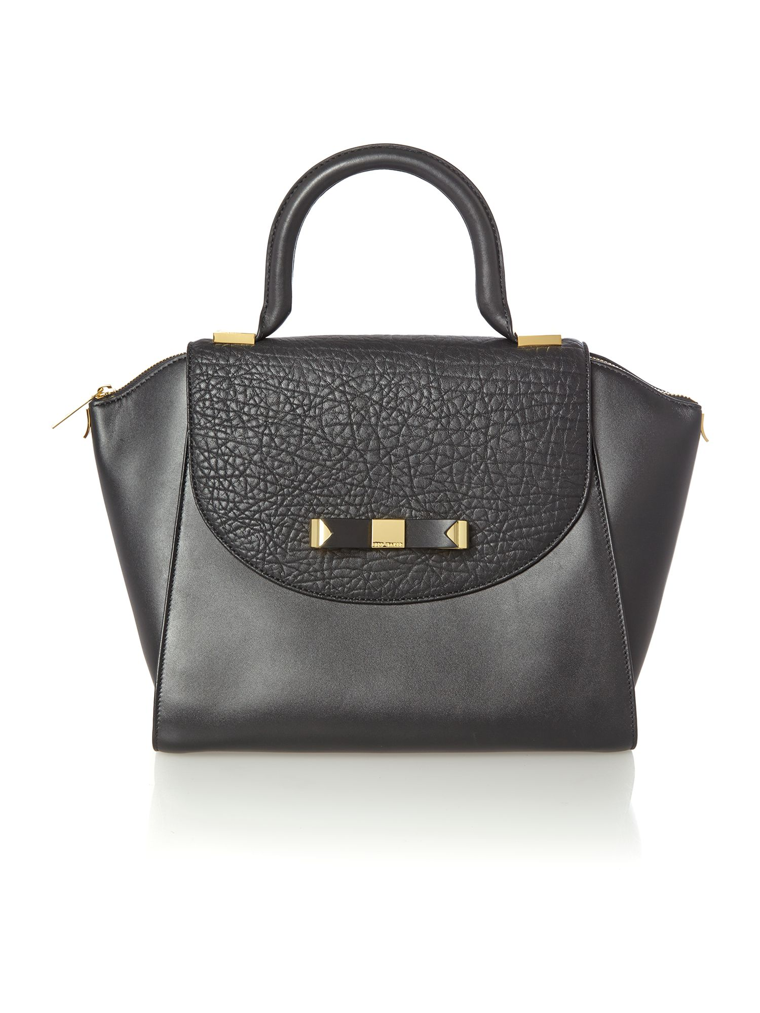 Black bow leather medium tote bag
