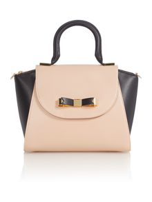 Neutral bow leather mini tote bag
