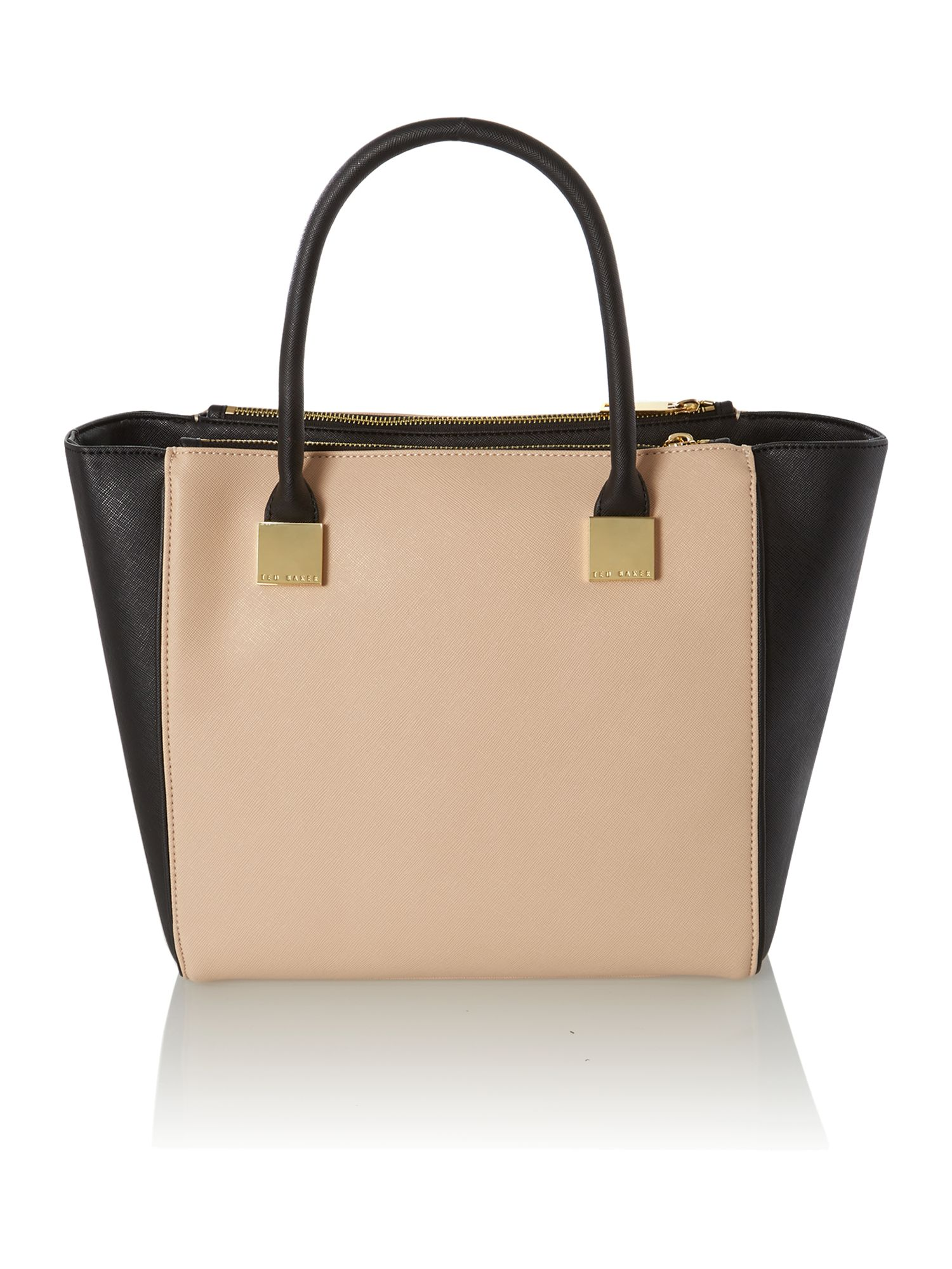 Neutral medium saffiano tote bag