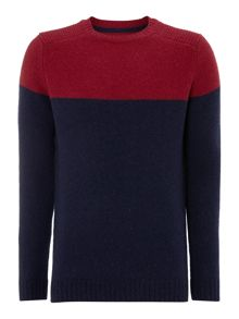 Crew neck block colour jumper