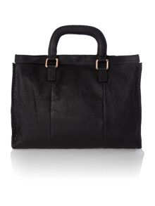 Black large leather tote bag