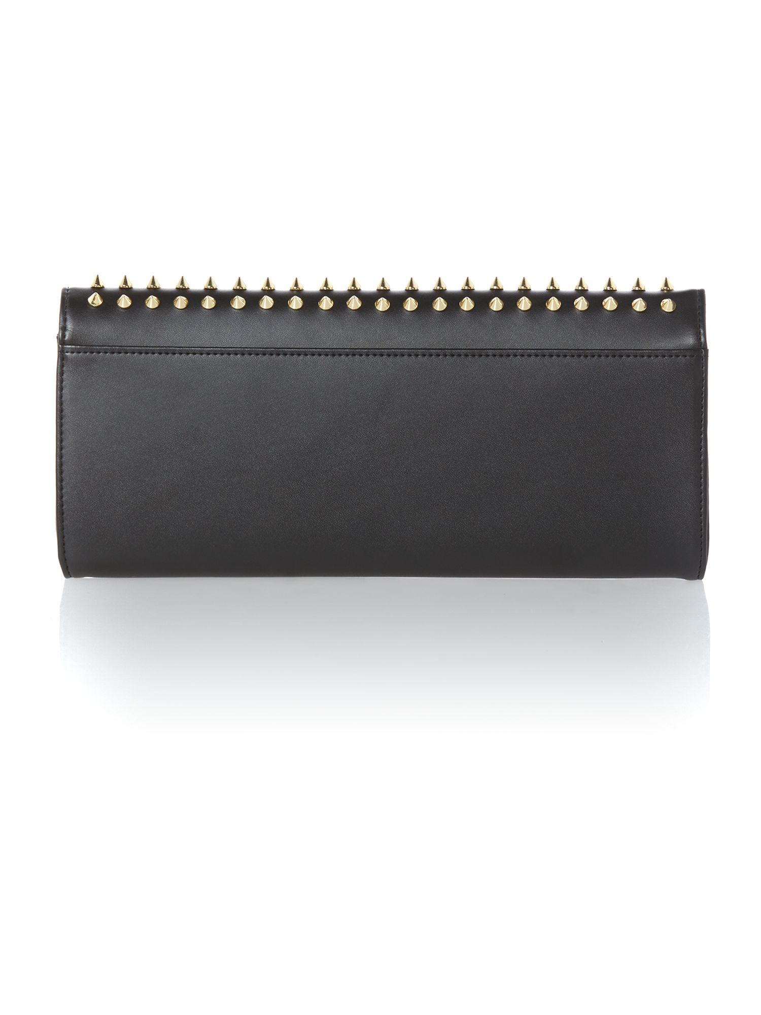 Black large studded clutch bag