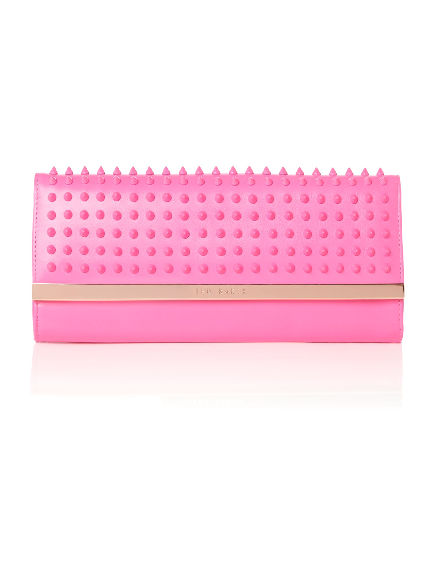 Pink large studded clutch bag