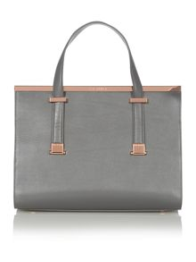 Grey metal bar tote bag