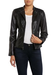 Leather jacket with open collar