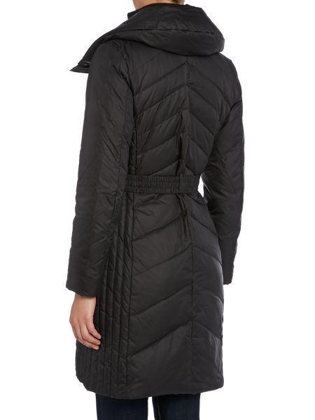 Marc NY Chevron quilted coat with belt