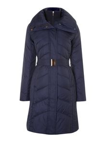 Chevron quilted coat with belt