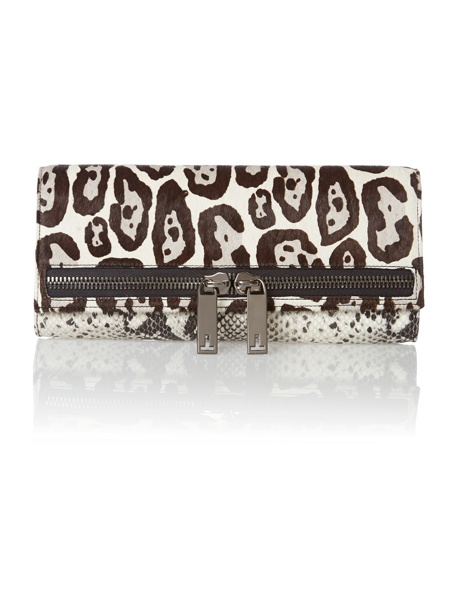 Black animal print clutch bag