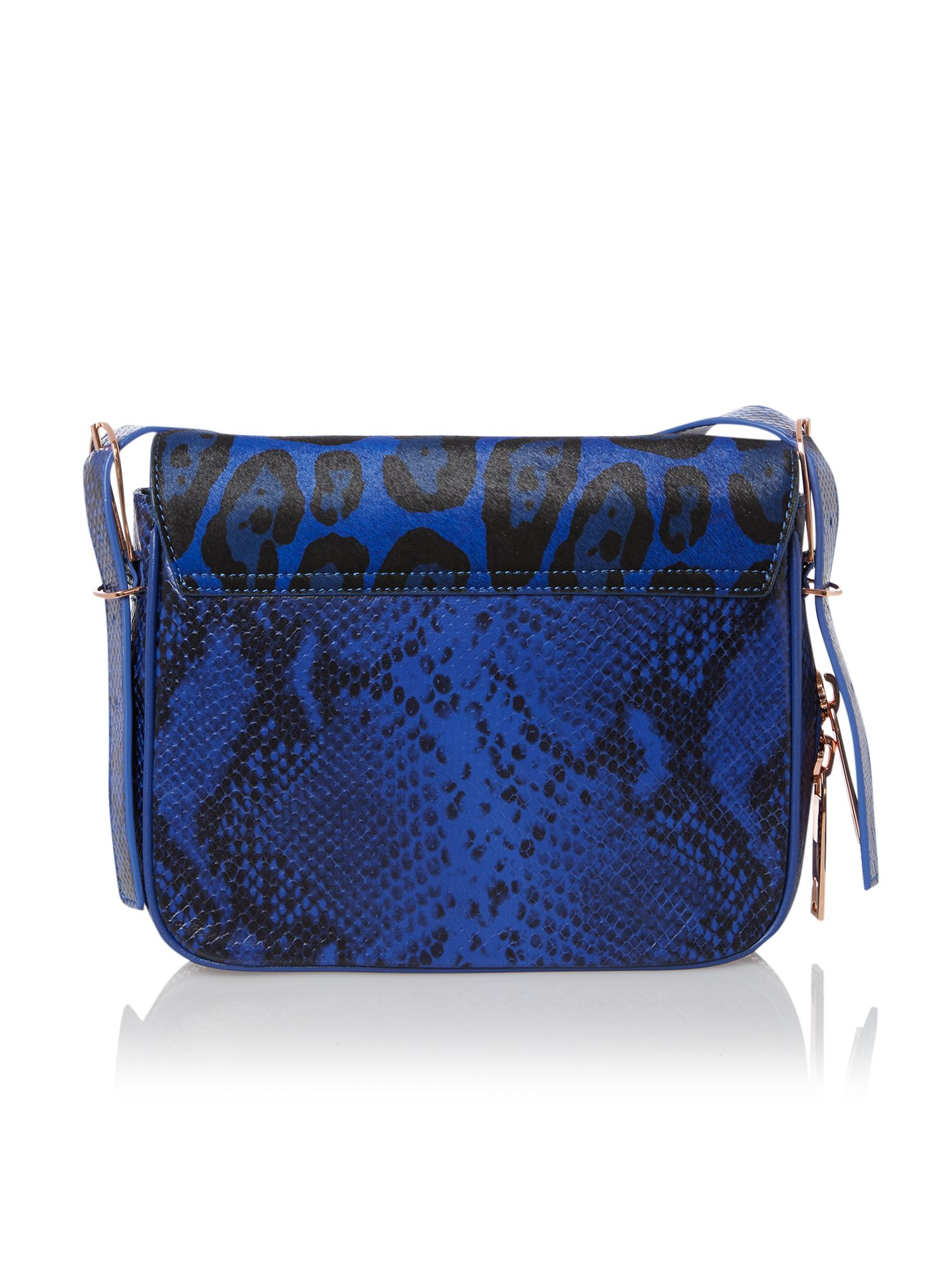 Blue animal print cross body bag