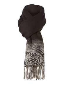 Animal print border wide Cashmink® scarf