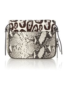 Black animal print cross body bag