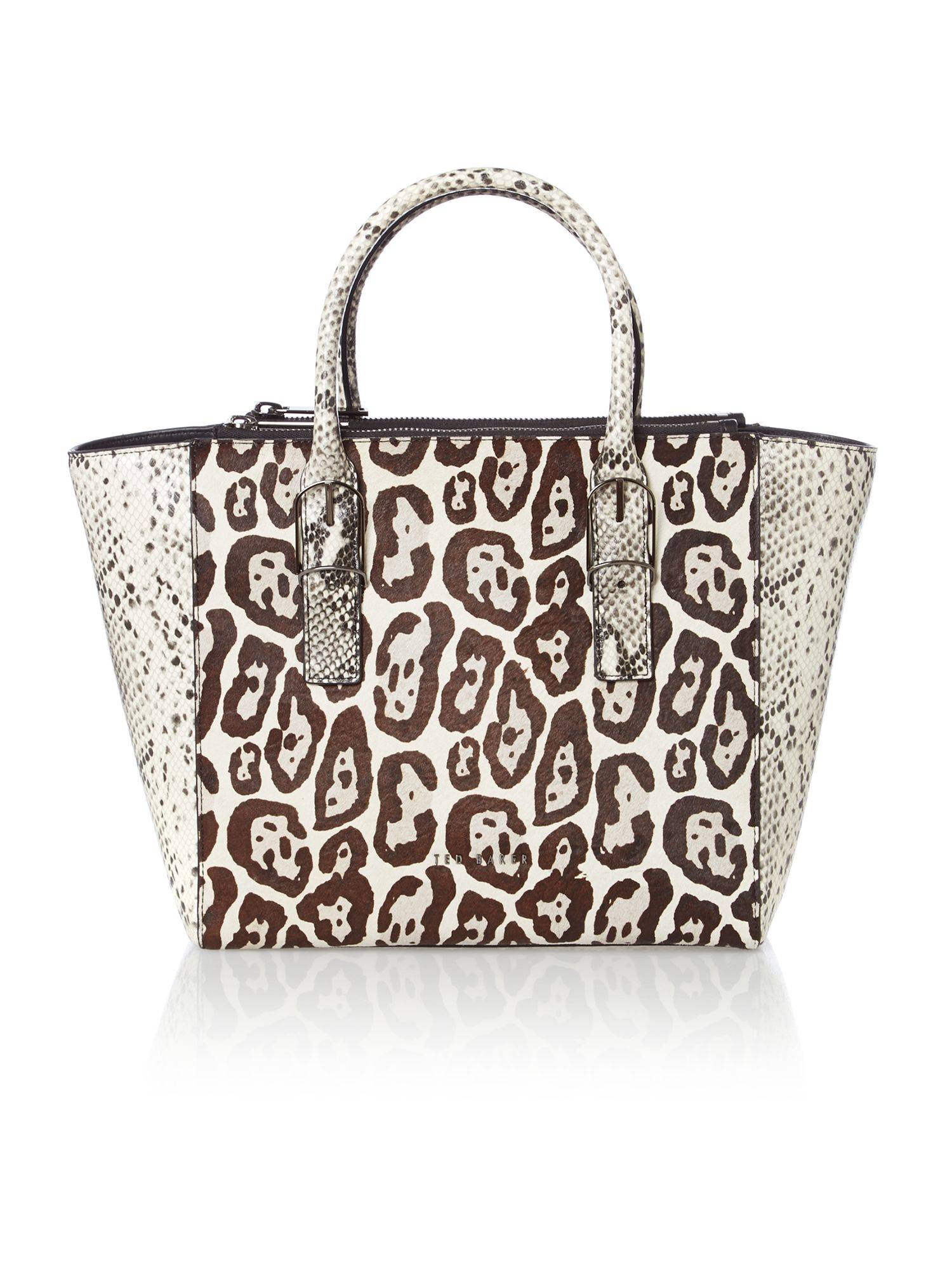 Black animal print large tote bag