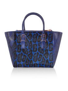 Blue animal print large tote bag