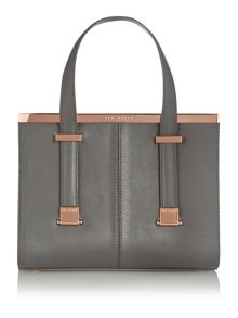 Grey metal bar mini tote bag