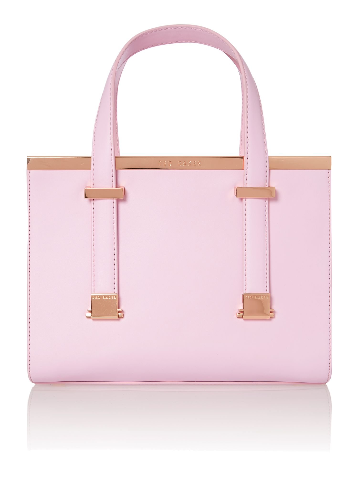 Pink metal bar mini tote bag
