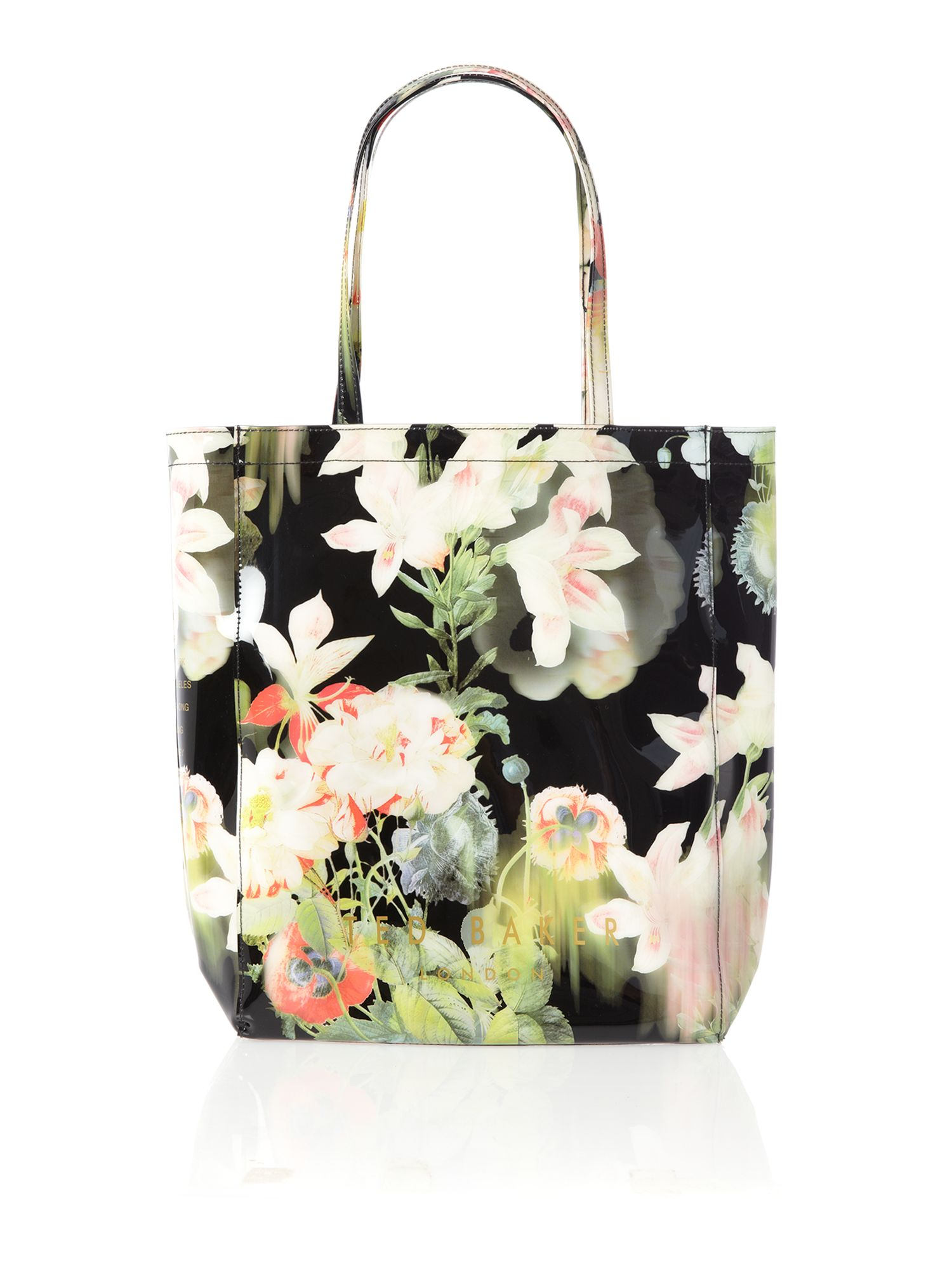 Black floral print large bowcon tote bag