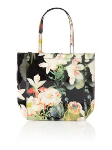 Black floral small bowcon tote bag
