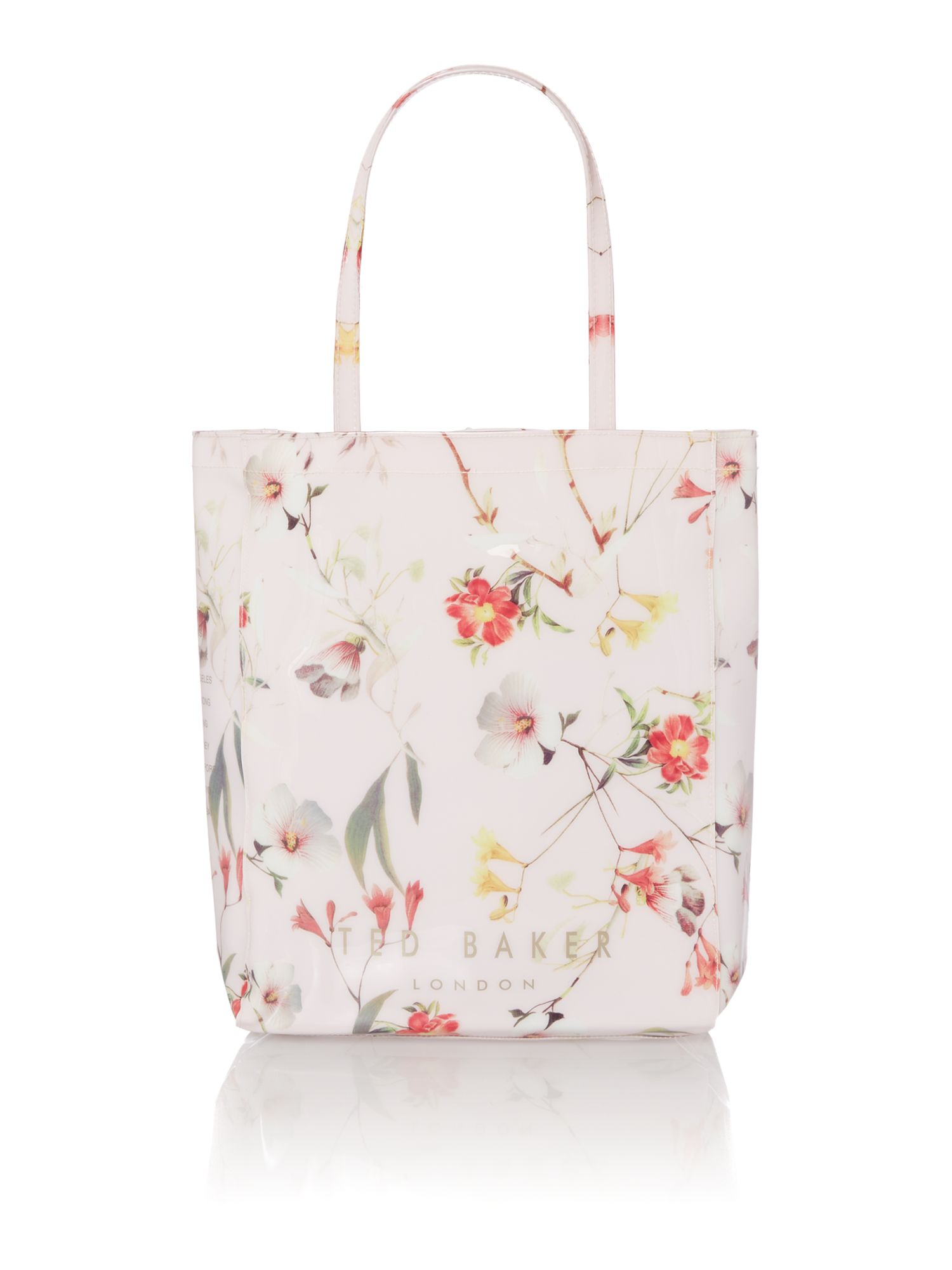 Nude floral print large bowcon bag